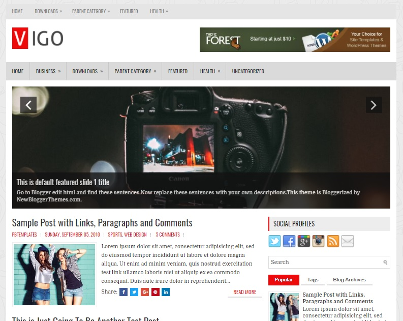 Vigo Blogger template has a mobile friendly slider Free Download Vigo Blogger Template