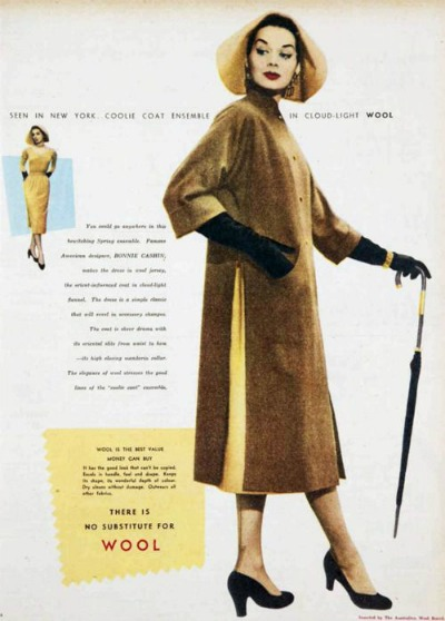 Magazine ad for Bonnie Cashin rainwear featuring a hat that resembles an Asian coolie hat
