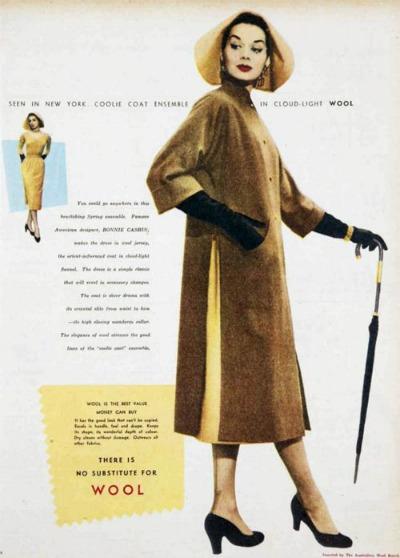 Magazine ad for Bonnie Cashin rainwear featuring a hat that resembles an Asian coolie hat
