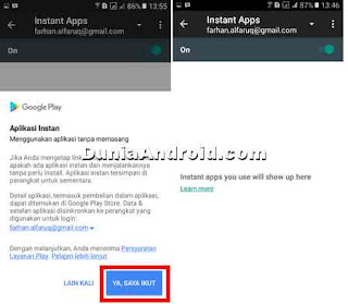 cara enable aplikasi instan di HP android