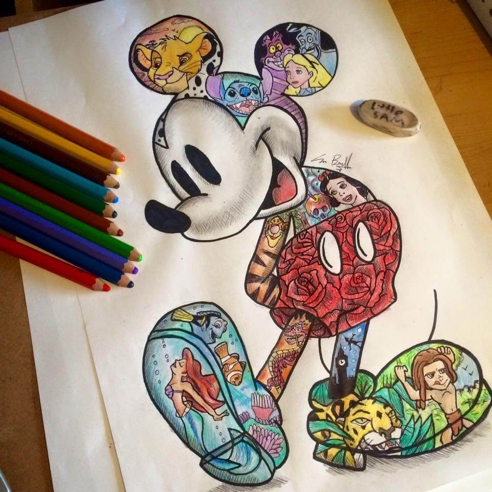 03-Walt-Disney-Mickey-Mouse-Sam-Brunell-littlesamsart-Movie-Character-Drawings-within-Characters-www-designstack-co