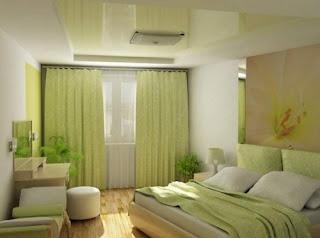 habitación en crema y verde