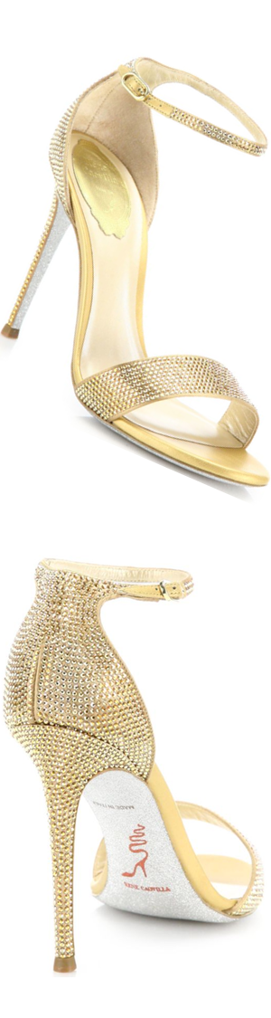 Rene Caovilla Crystal-Embellished Metallic Leather Sandals