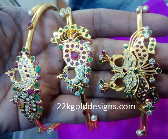 Peacock Design Gold Bracelets