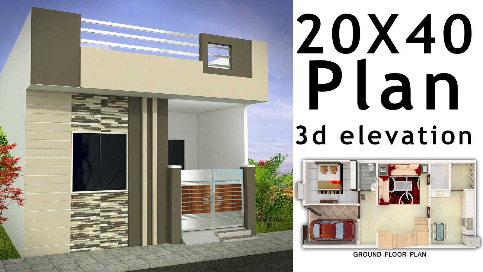 20x40 House plan with 3d elevation by nikshail | Nikshail ...