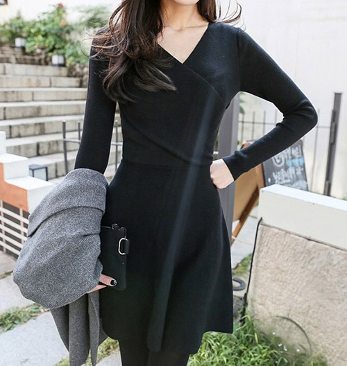 V-Neck Wrap Flared Dress