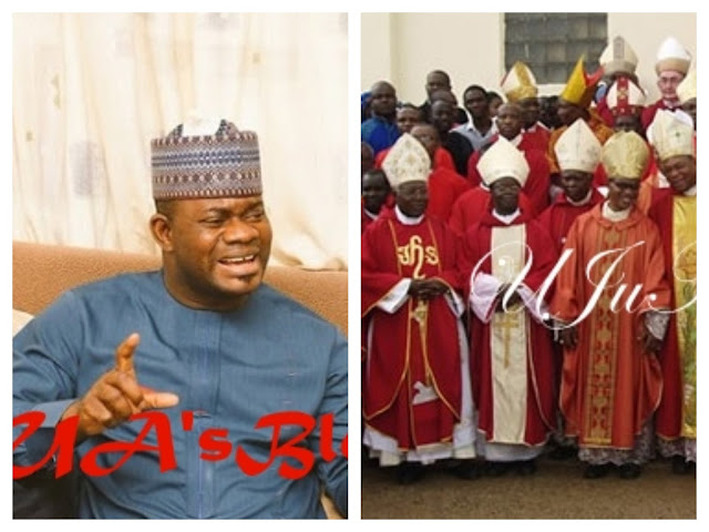 Governor Bello carpets Catholic Bishop, says only looters are unhappy with Buhari