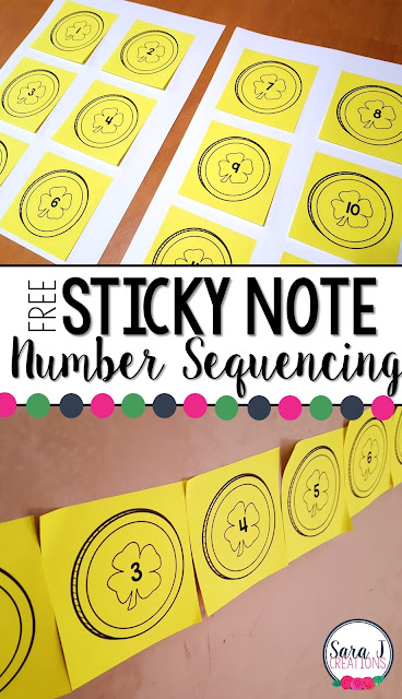 Free sticky note number sequencing template with a fun St. Patrick's Day theme.