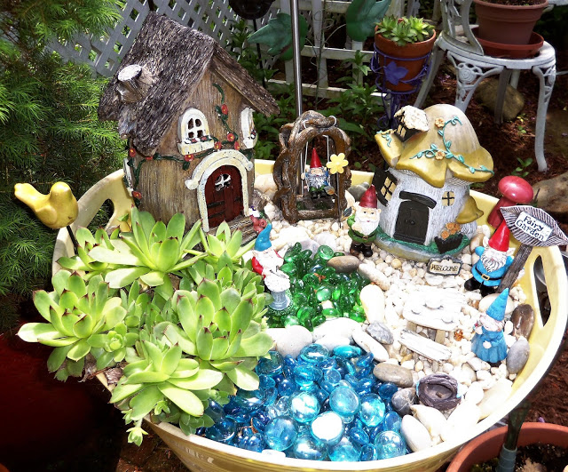 Fairy Gnome Garden in a Beverage Tub