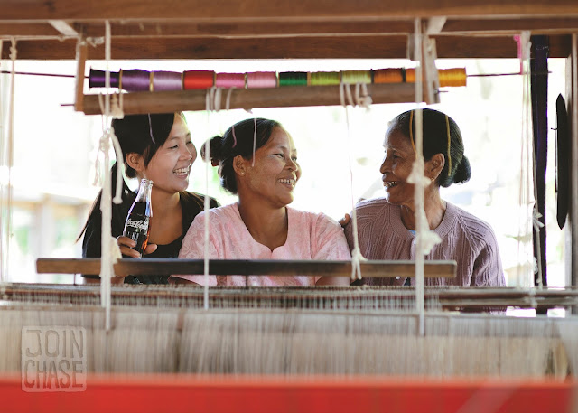 The daughter, mother, and grandmother who starred in the Coca-Cola commerical. Sagaing Division, Myanmar.