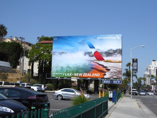 American Airlines Nonstop LAX New Zealand billboard