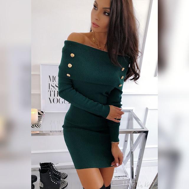 Μακρυμάνικο πράσινο φόρεμα SERAFINA GREEN