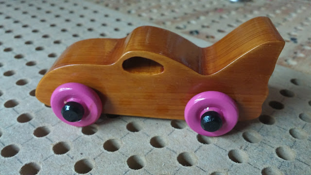 Wooden Toy Car - Bat Car - Pink Wheels - Odins Toy Factory