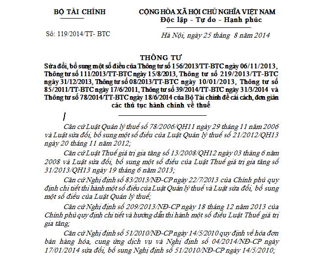 Thông Tư Số 119 của Bộ Tài Chính - điều 3,4
