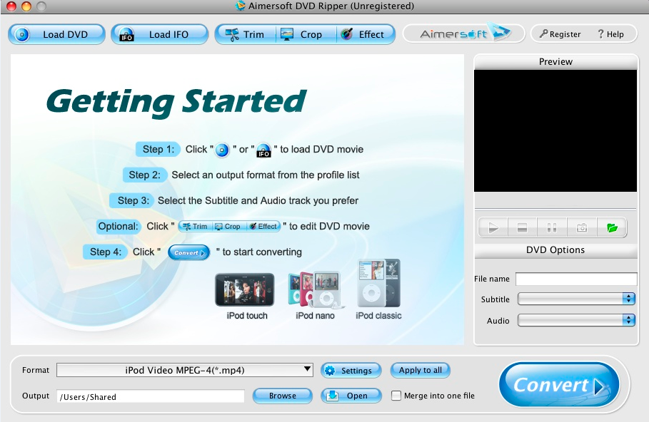 Aimersoft DVD Ripper for Mac gratis: Estrarre e Convertire