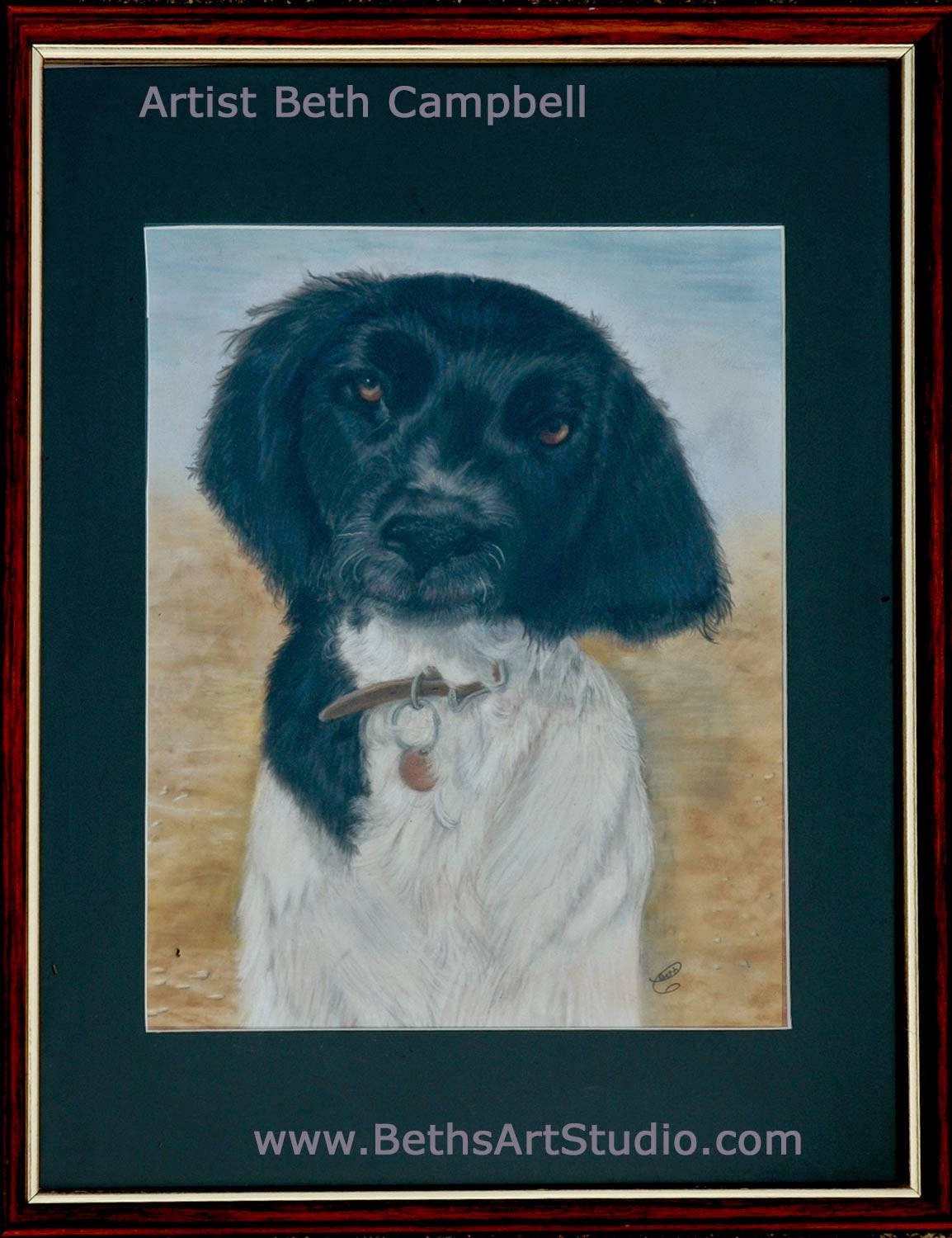 munsterlander dog painting pastel