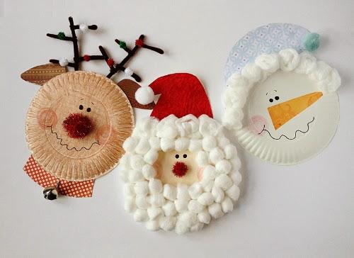 Ο Άγιος Βασίλης, ο τάρανδος και ο χιονάνθρωπος-κατασκευές με χάρτινα πιάτα