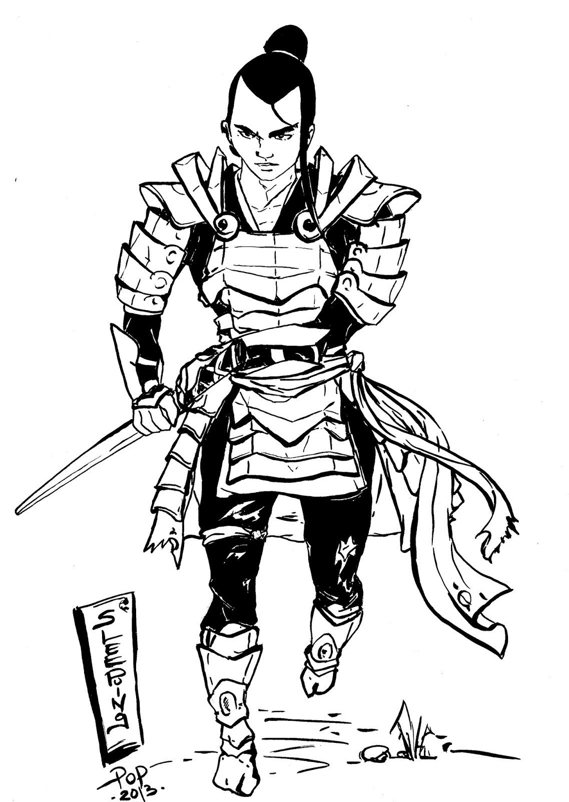sleeping pop: Samourai ... dessin à l'encre de chine et brosse