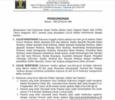 Pengumuman Ketentuan Mengikuti SKD CPNS Kemenkumham  Pengumuman Ketentuan Mengikuti SKD CPNS Kemenkumham 2017 LULUS Administrasi