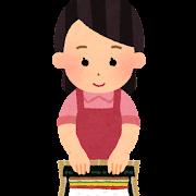 巻き寿司を作る女性のイラスト