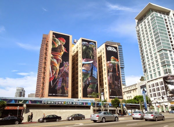 Giant Teenage Mutant Ninja Turtles billboards Figueroa Hotel