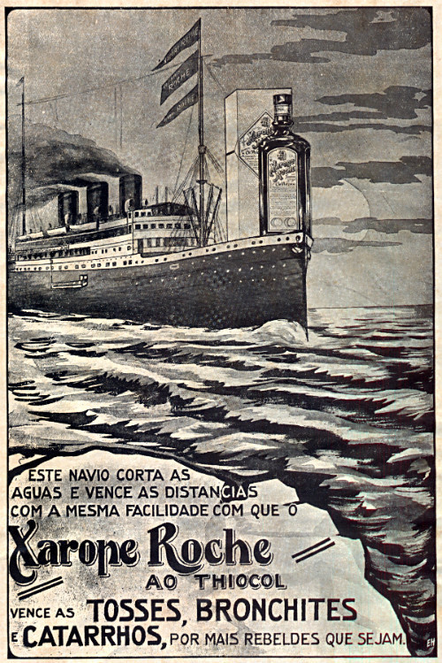 Propaganda antiga do Xarope Roche em 1927 que promovia a força do produto