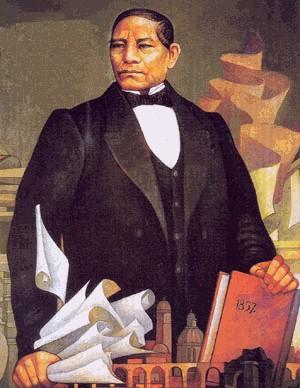 Foto al mural de Benito Juárez a color