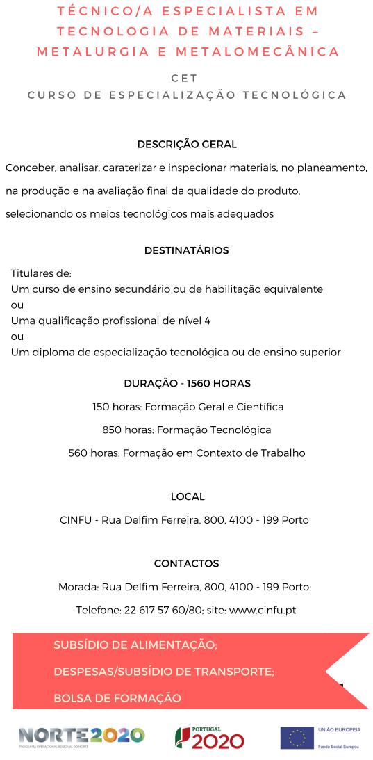 Curso cet de metalomecânica no Porto