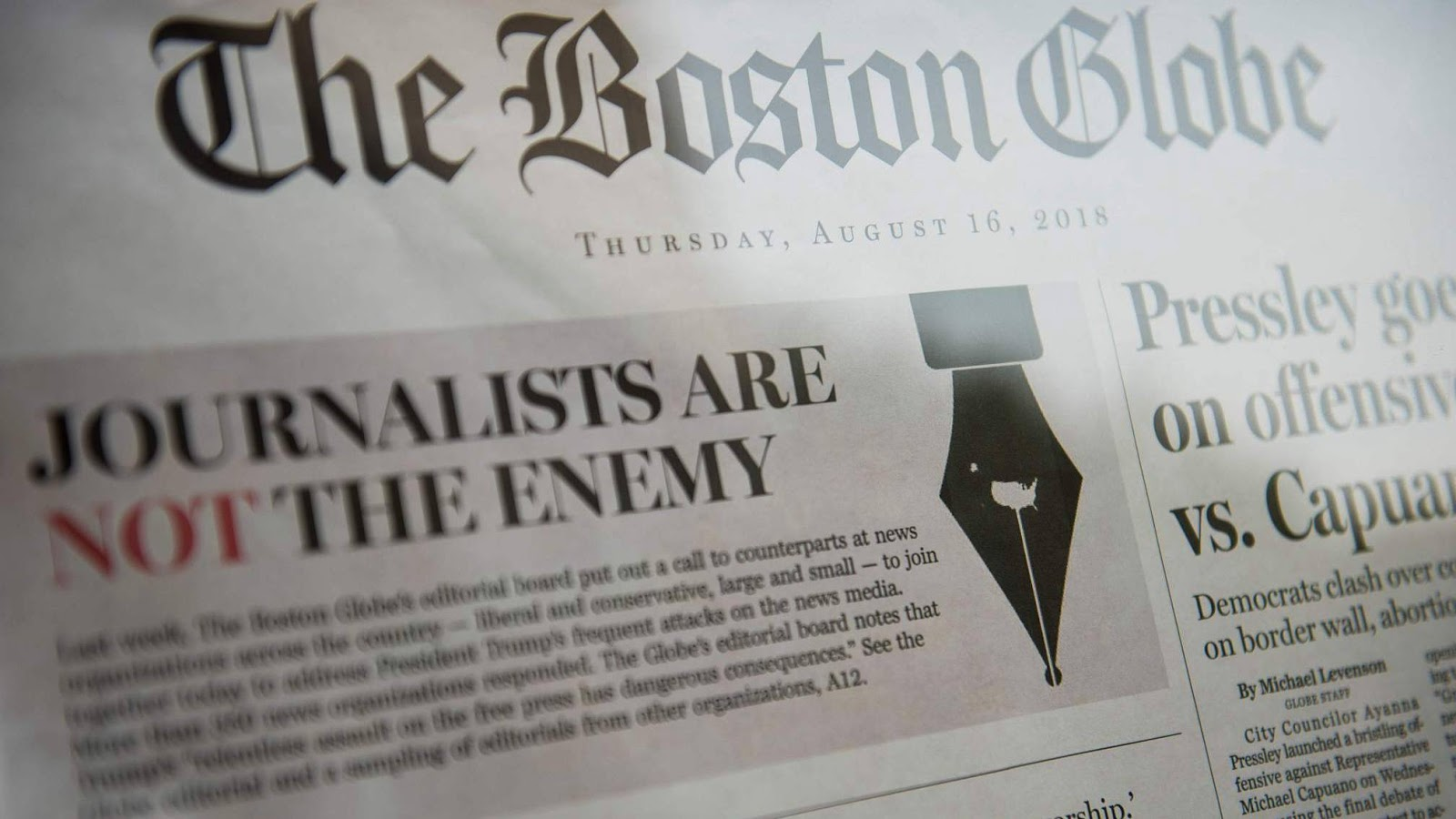 on thursday over 300 us newspapers published editorials defending the fundamental principle of the freedom of the press and pushing back against president