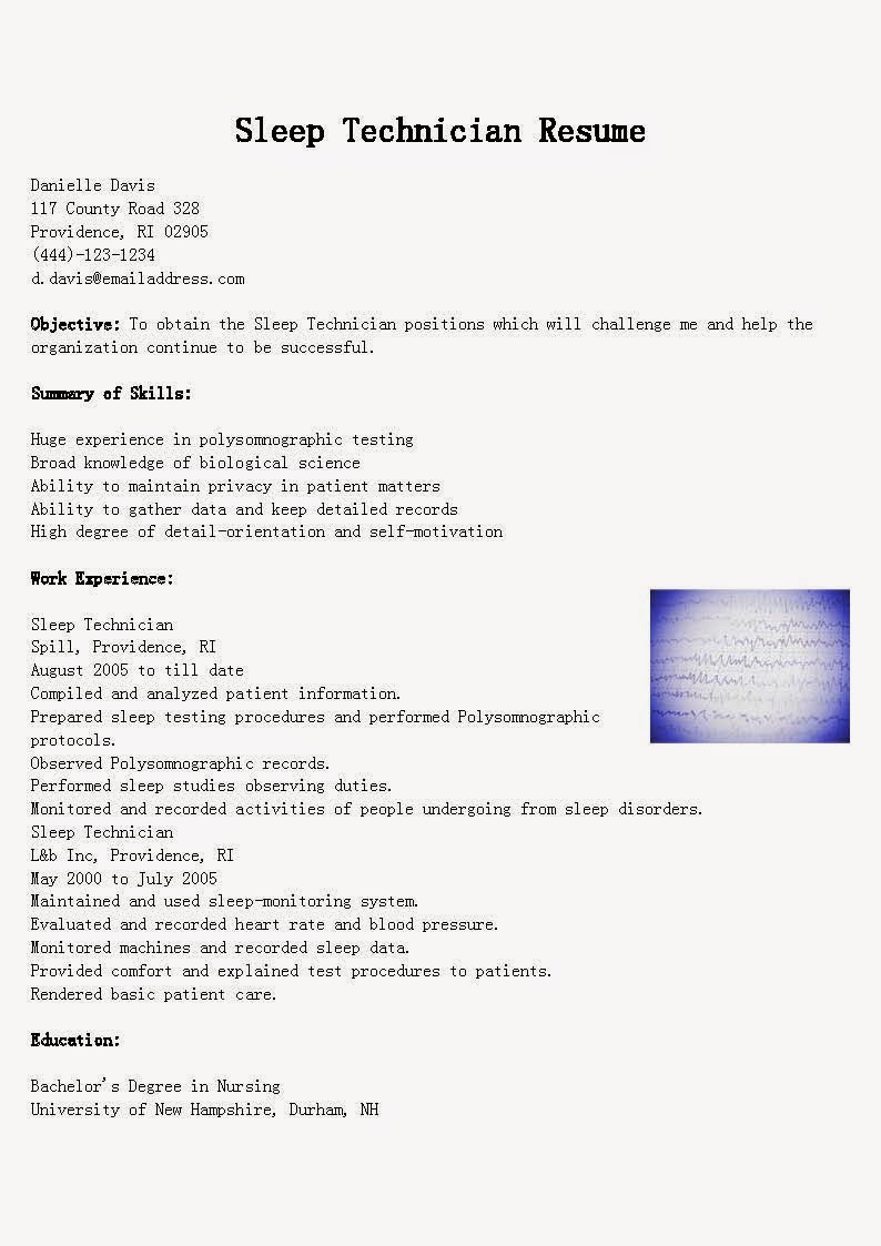 Resume Samples Sleep Technician Resume Sample