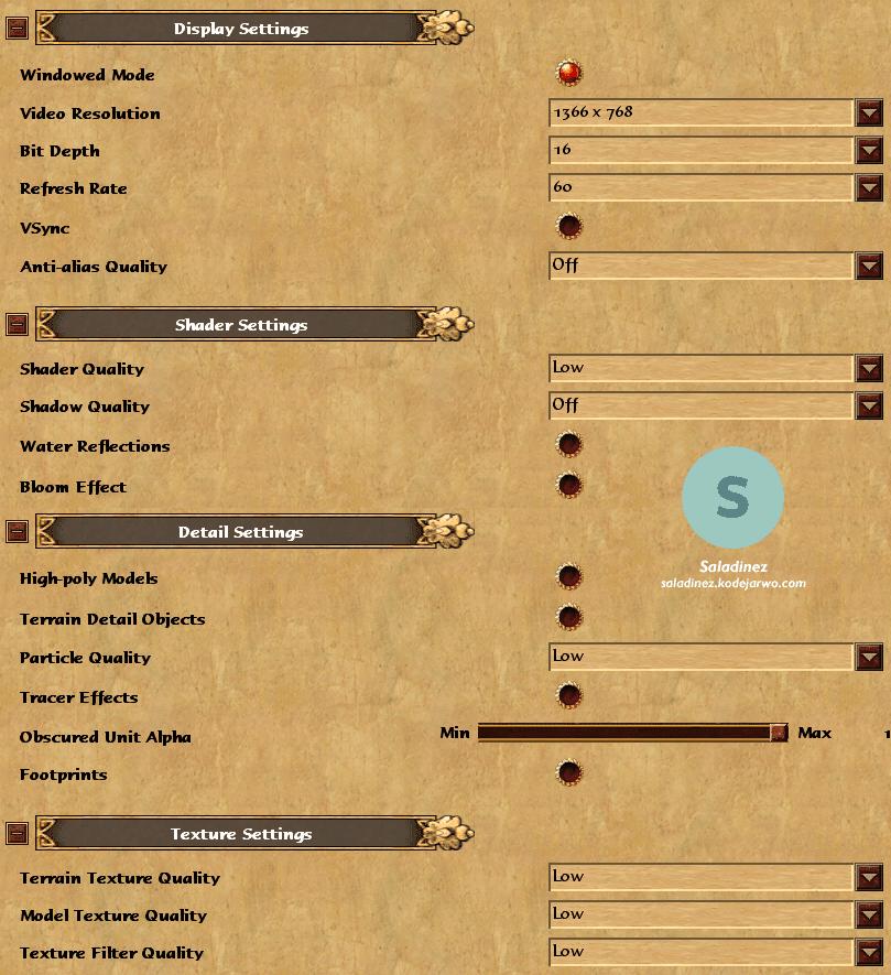 Settingan low grafik Age of Empires 3