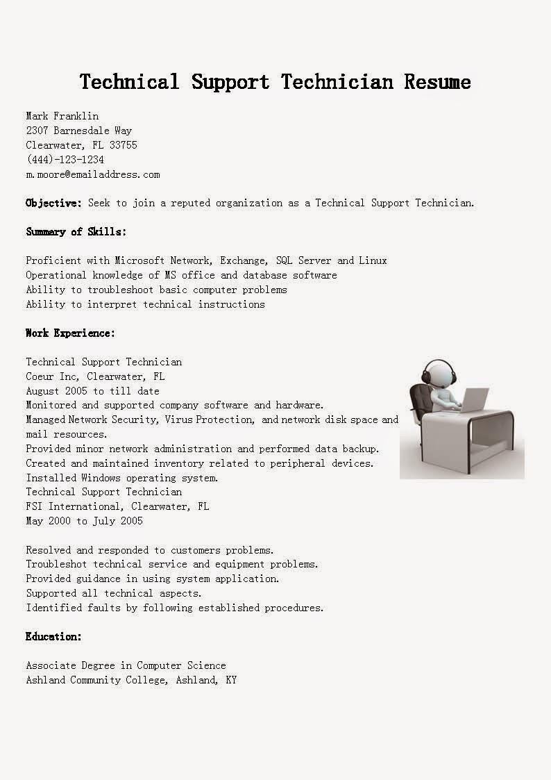 resume samples  technical support technician resume sample