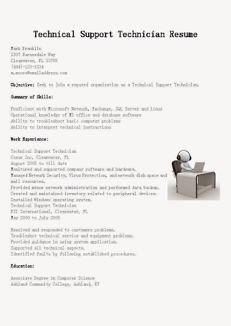 Great Sample Resume Resume Samples Technical Support Technician