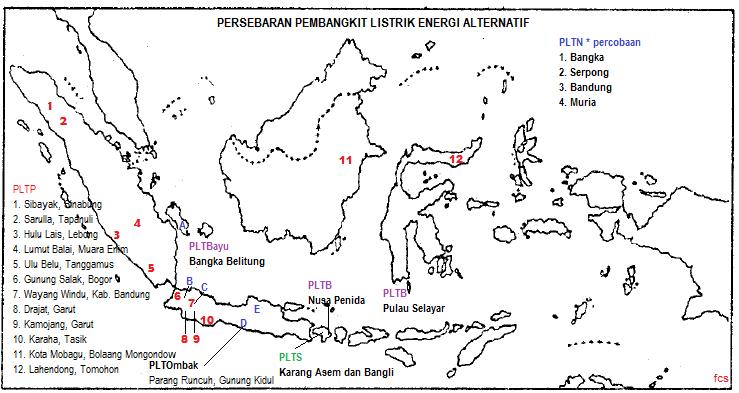 Fcs Fuat Cepat Selamat Peta Persebaran Pembangkit Listrik Energi Alternatif Di Indonesia
