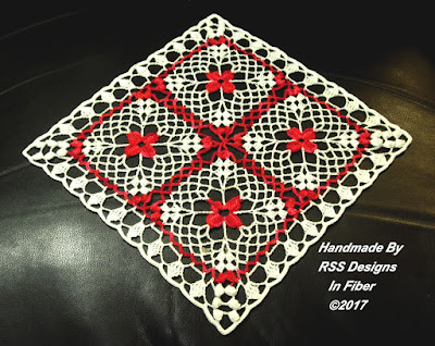 Bright Red Flowers in White Lace - Square or Diamond - Handmade By Ruth Sandra Sperling of RSS Designs In Fiber