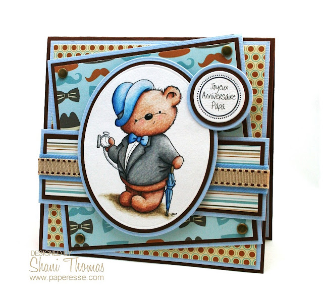 Di's Digistamps Gentleman Ted digital stamp stars on this masculine birthday card, by Paperesse.