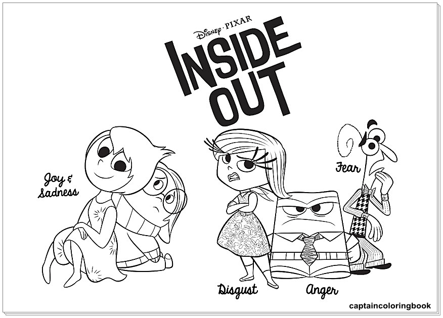 Inside Out Coloring Pages Fritz, Fear, Bing Bong, Joy, Disgust , Riley  Andersen, Sadness, Anger