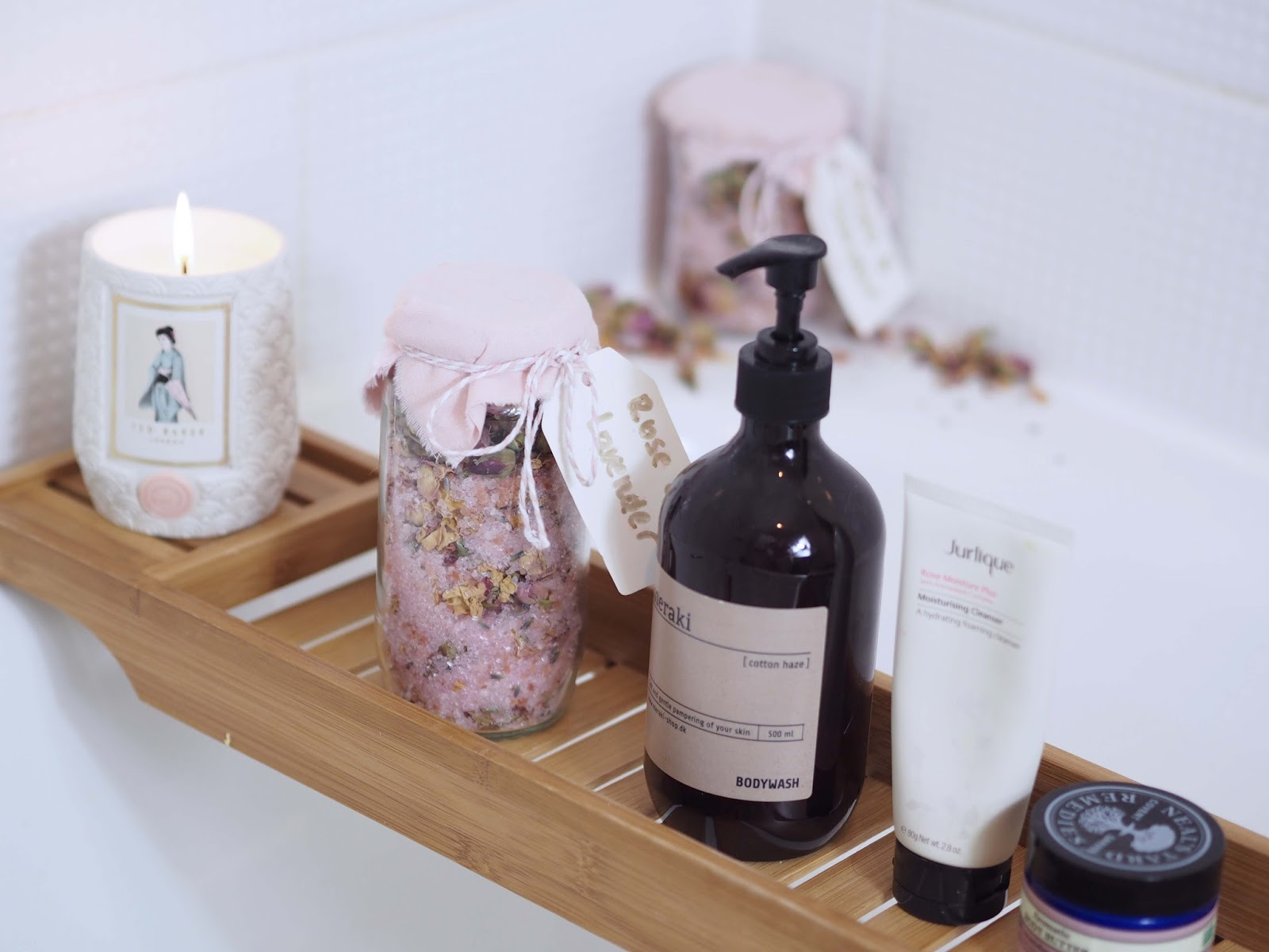 DIY gift rose and lavender bath salts with own package and label