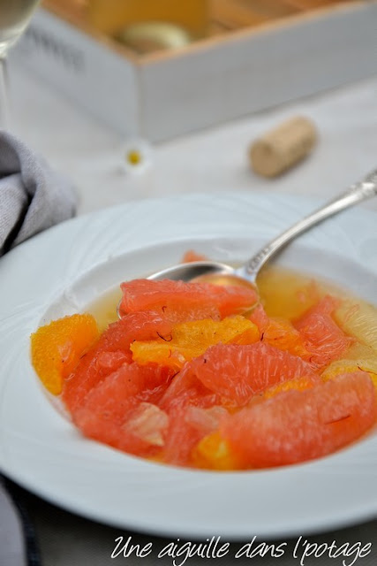 Soupe d'agrumes, vanille et safran