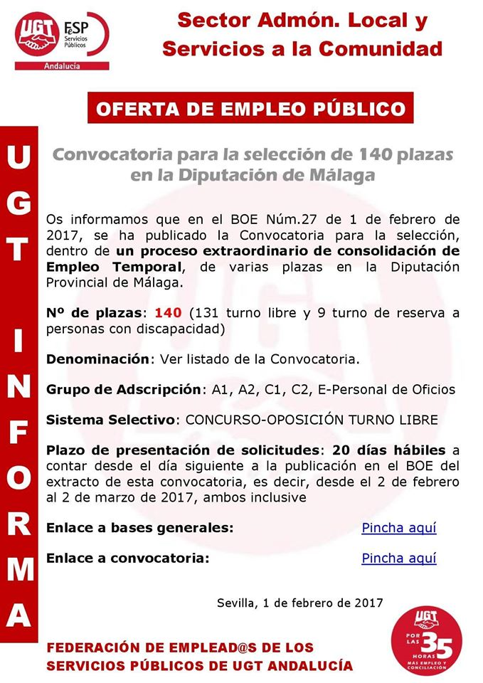 Blog de salva jim nez convocatoria plazas diputaci n for Convocatoria para plazas docentes 2017