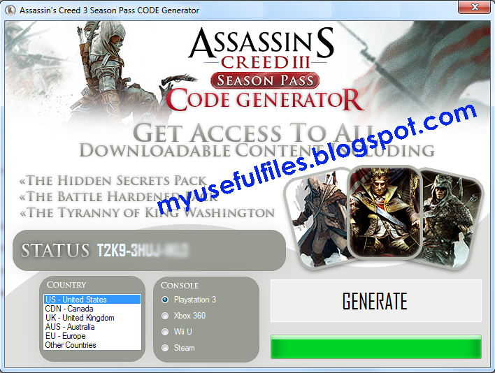Assassin's Creed 3 Season Pass Generator Preview