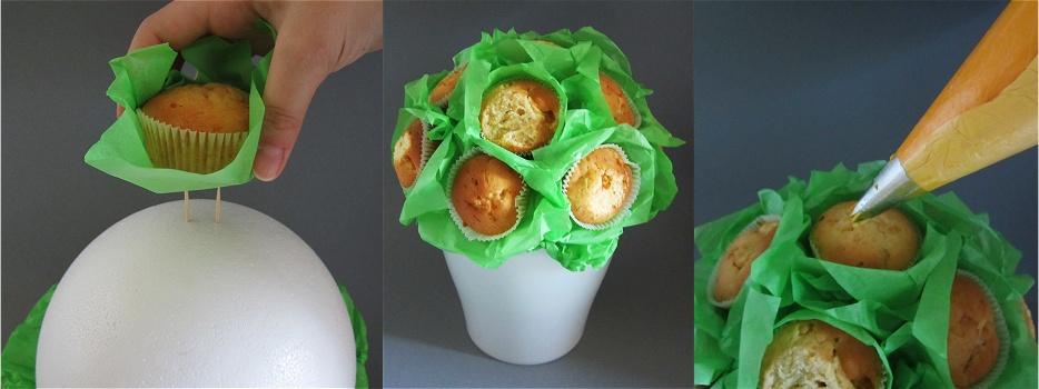 Cupcake-Blumenstrauß Anleitung 3