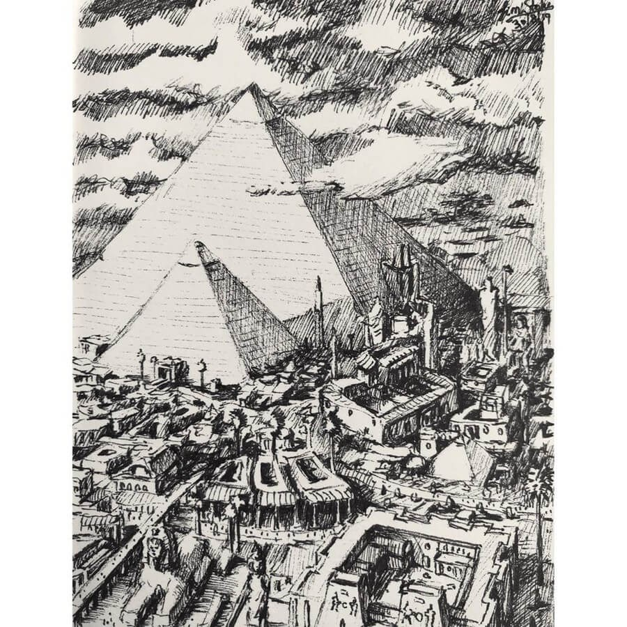03-Ancient-Egyptian-Pyramids-Tim-Stokes-Fantasy-and-Real-Life-Architecture-Drawings-www-designstack-co