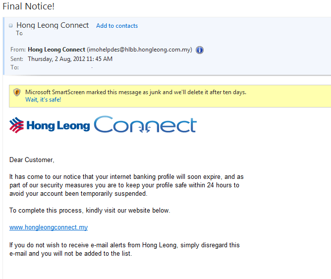 Scam Letters: Hong Leong Bank & RHB Bank Phishing Email | KnowThyMoney