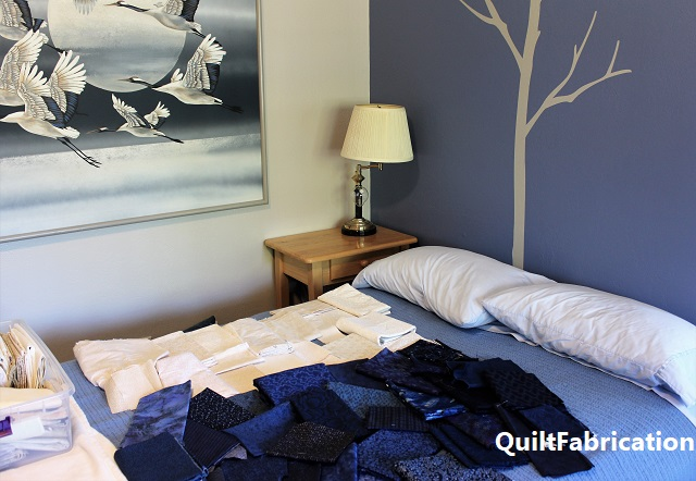 room with beige/dark blues