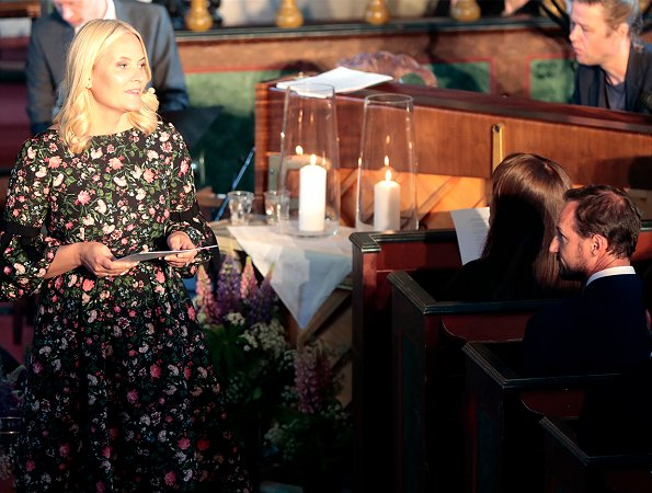 Crown Princess Mette Marit wore ERDEM Aleena Floral Print Matelasse Dress and Christian Louboutin Simple Pump