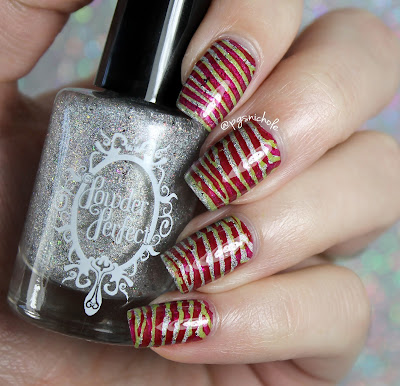 Christmas Stripe Double Stamping Nail Art