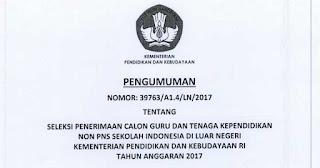 Pendaftaran Seleksi GTK NON PNS SILN (Sekolah Indonesia Luar Negeri)