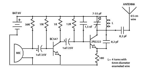 fm surveillance bug transmitter using 2n2222