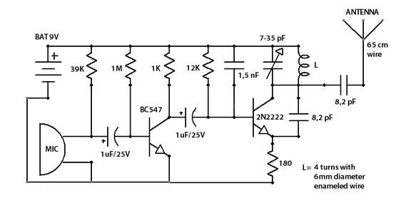 fm surveillance bug transmitter using 2n2222